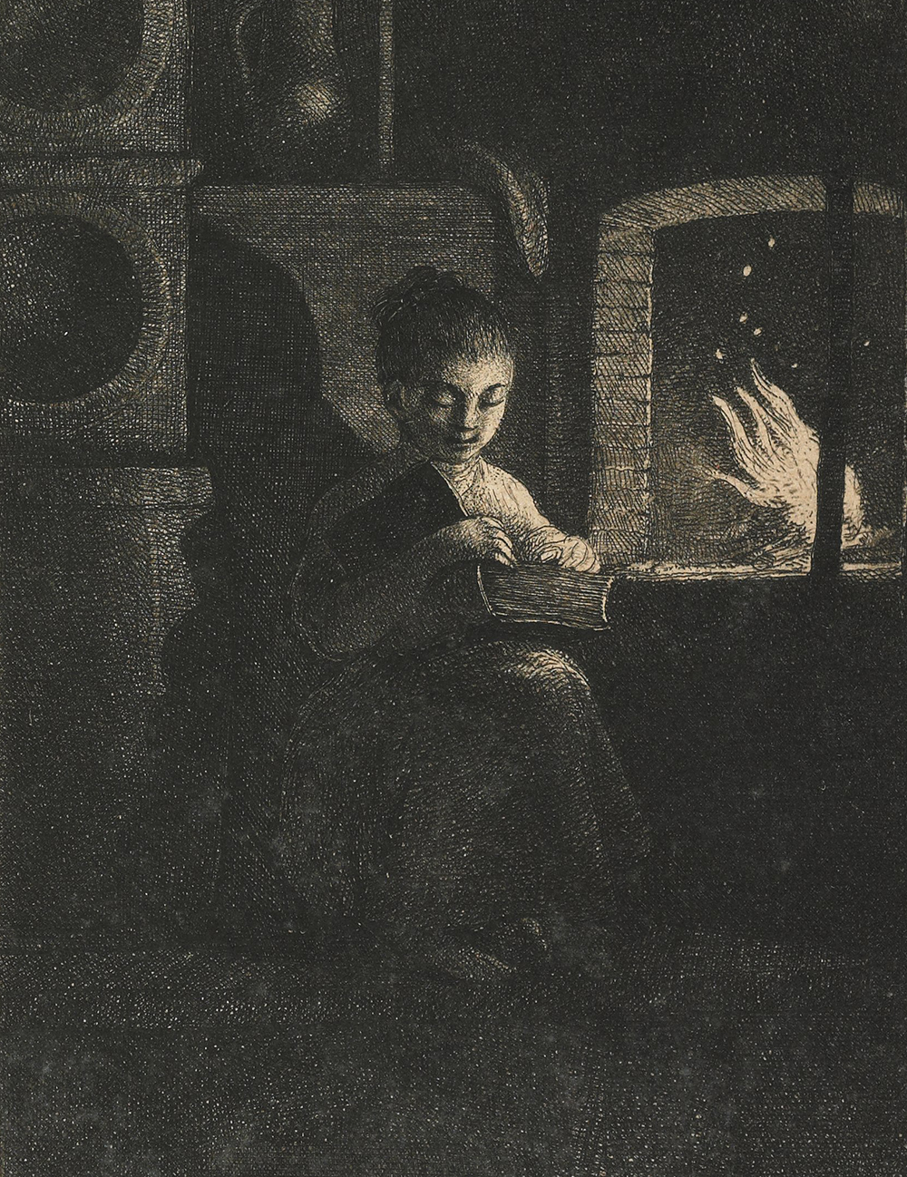 Young Girl Reading by a Fire, etching by Jean-Pierre Norblin de la Gourdaine, c. 1774. The Minneapolis Institute of Art, Gift of John E. Andrus III.
