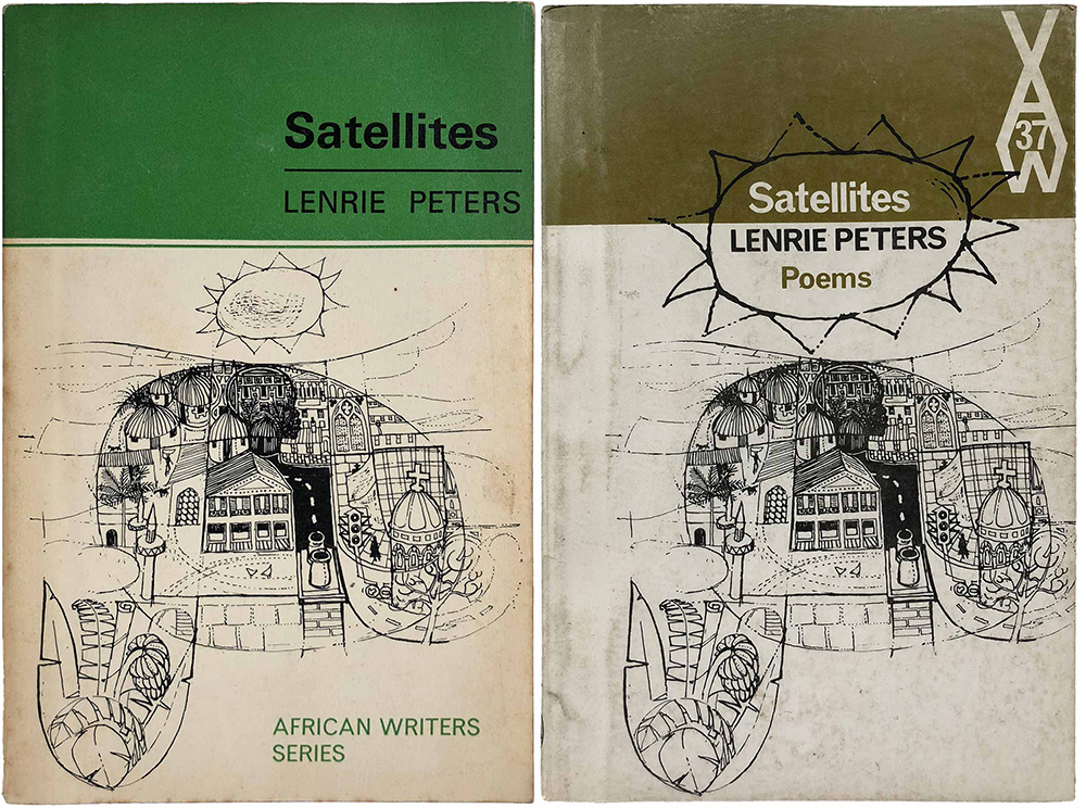 """Satellites,"" by Lenrie Peters (AWS 37, 1967). Cover on right from 1971."