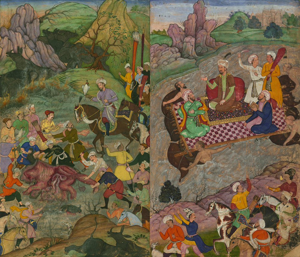 """Babur and His Party Hunting for Rhinoceros in Swati"" (L) and ""Babur Riding a Raft from Kunar Back to Atar"" (R), from the Baburnama (Book of Babur). Walters Art Museum."