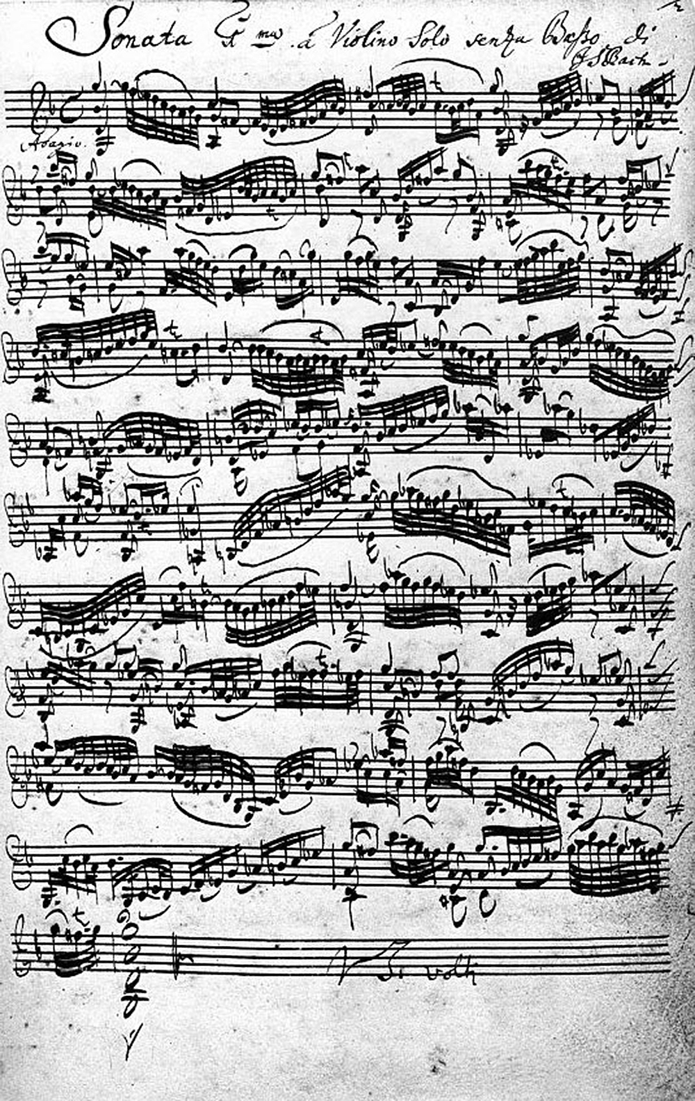 Bach's autograph of the first movement of the Sonata No. 1 in G minor for solo violin. Wikimedia Commons.