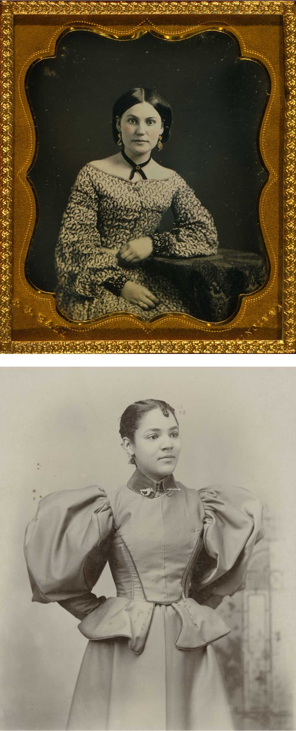 Top: Unidentified woman, c. 1847. Photograph by James Presley Ball. Bottom: Unidentified Woman, by J.P. Ball & Son, c. 1887.