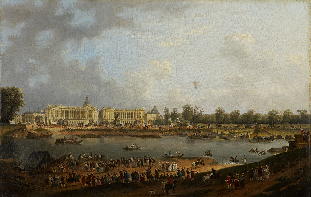 The Balloon Flight of Jacques Charles over the Place de la Concorde, Paris, attributed to Pierre Antoine de Machy, c. 1783. Minneapolis Institute of Art, Gift of Russell A. Plimpton in memory of Lt. William Gardner White, U.S.N.R.