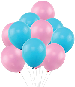 Blue and pink balloons