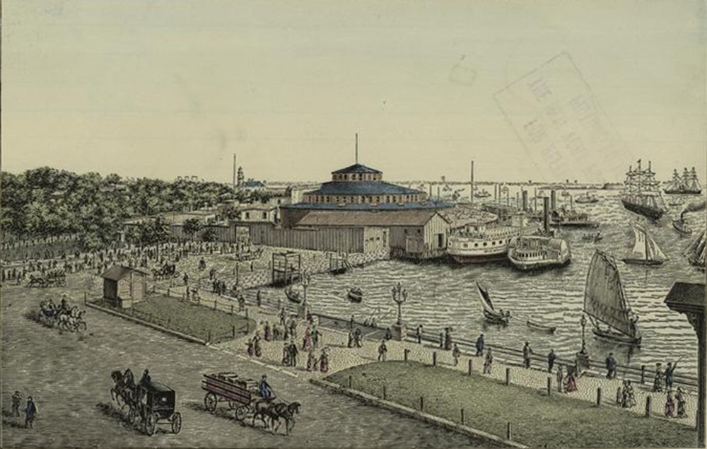 Castle Garden landing for emigrants, Barge Office, Battery, 1869. The New York Public Library, Art and Picture Collection.