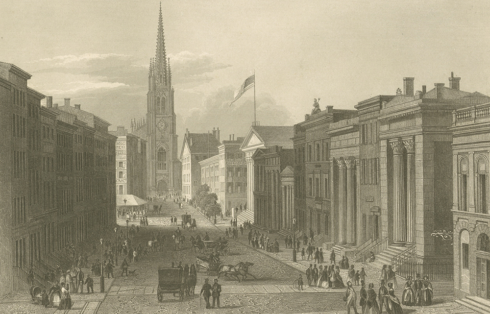 Wall Street, c. 1850. The New York Public Library, The Miriam and Ira D. Wallach Division of Art, Prints and Photographs.
