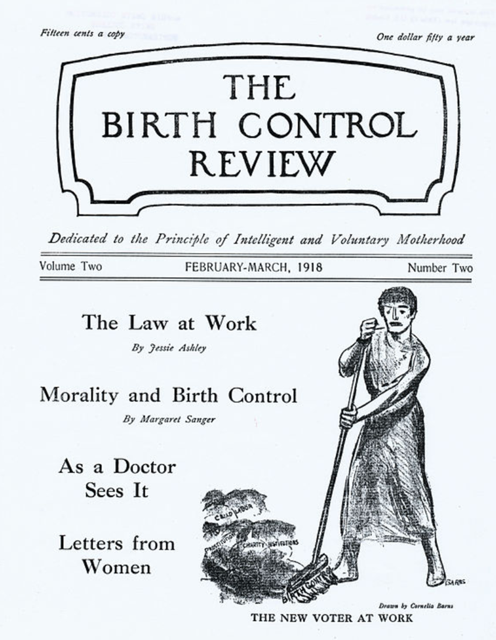 """The New Voter at Work,"" by Cornelia Barns, The Birth Control Review, February–March 1918."