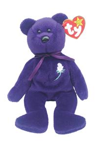 A purple bear beanie baby.