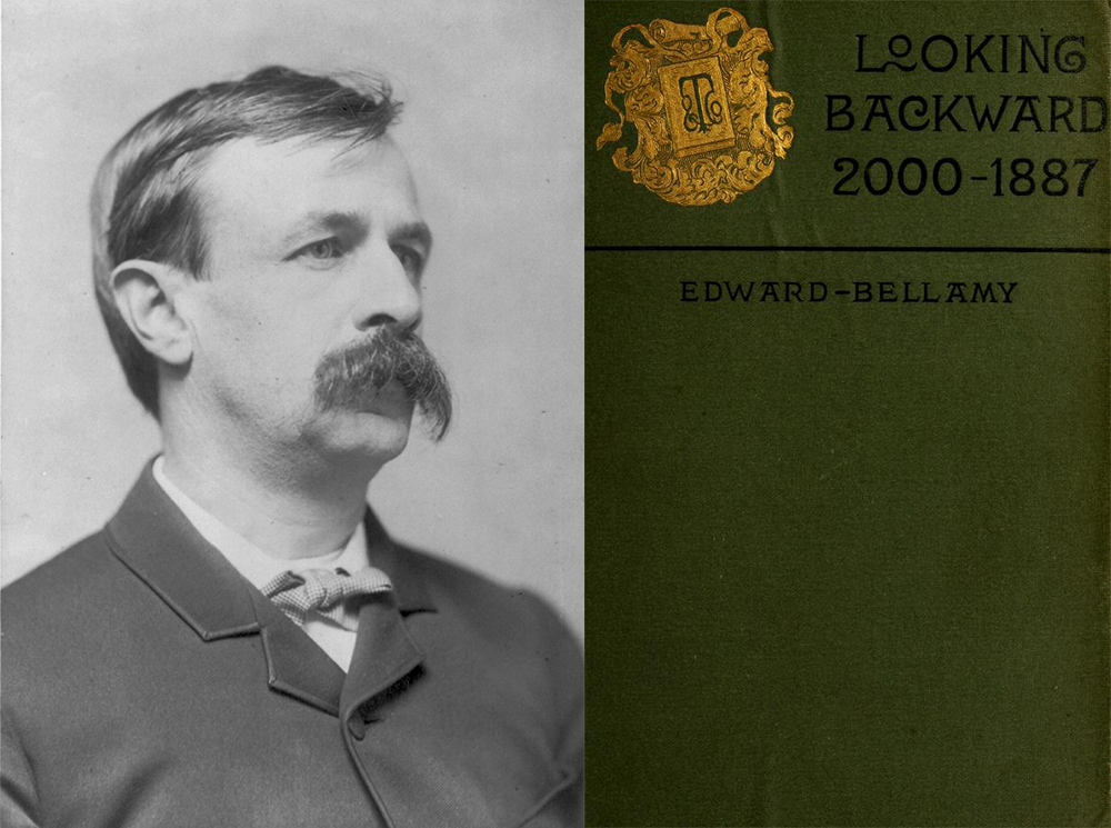 (L) Edward Bellamy, c. 1889. Library of Congress, Prints and Photographs Division. (R) Cover of Looking Backward (1888) by Edward Bellamy.