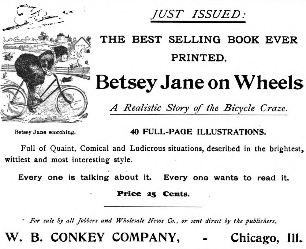 Ad for Bestey Jane on Wheels claiming it is the best-selling book ever printed.