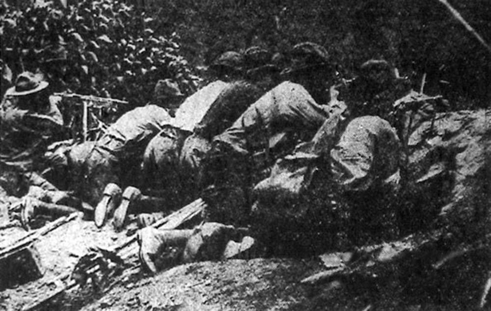 Sheriff's deputies fighting during the Battle of Blair Mountain, 1921. Photograph by the Charleston Gazette.