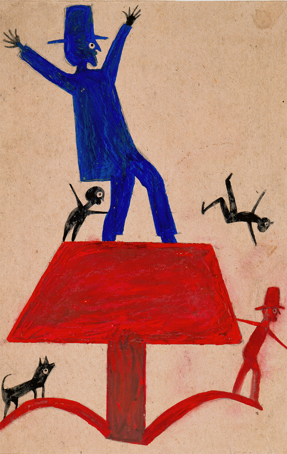 Untitled (Blue Man on Red Object), by Bill Traylor, c. 1939. High Museum of Art, Atlanta, purchase with funds from Mrs. Lindsey Hopkins, Jr., Edith G. and Philip A. Rhodes, and the Members Guild. Photograph by Mike Jensen.