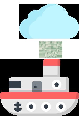 Boat spraying upward into a cloud