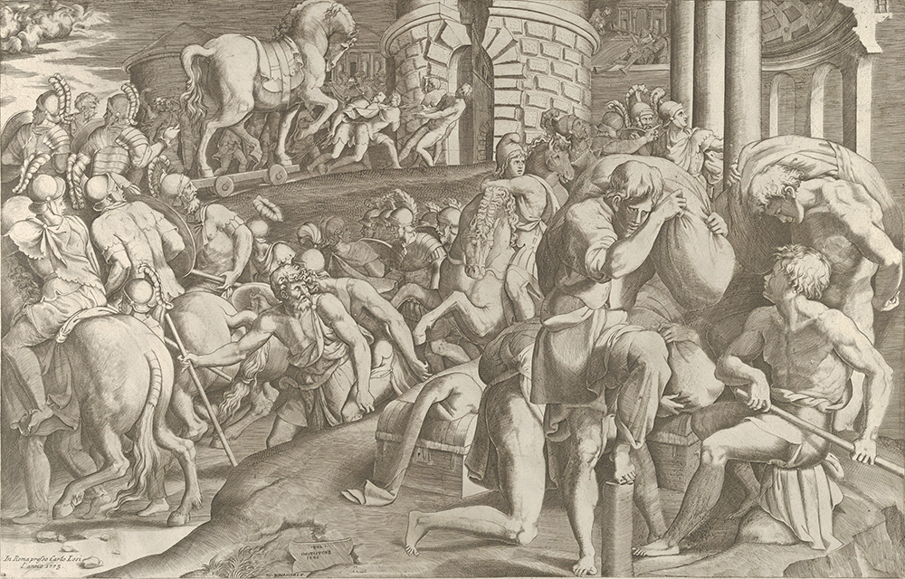 The Trojans hauling the wooden horse into Troy, engraving by Giulio Bonasone, after Francesco Primaticcio, 1545. The Metropolitan Museum of Art, The Elisha Whittelsey Collection, The Elisha Whittelsey Fund, 1949.