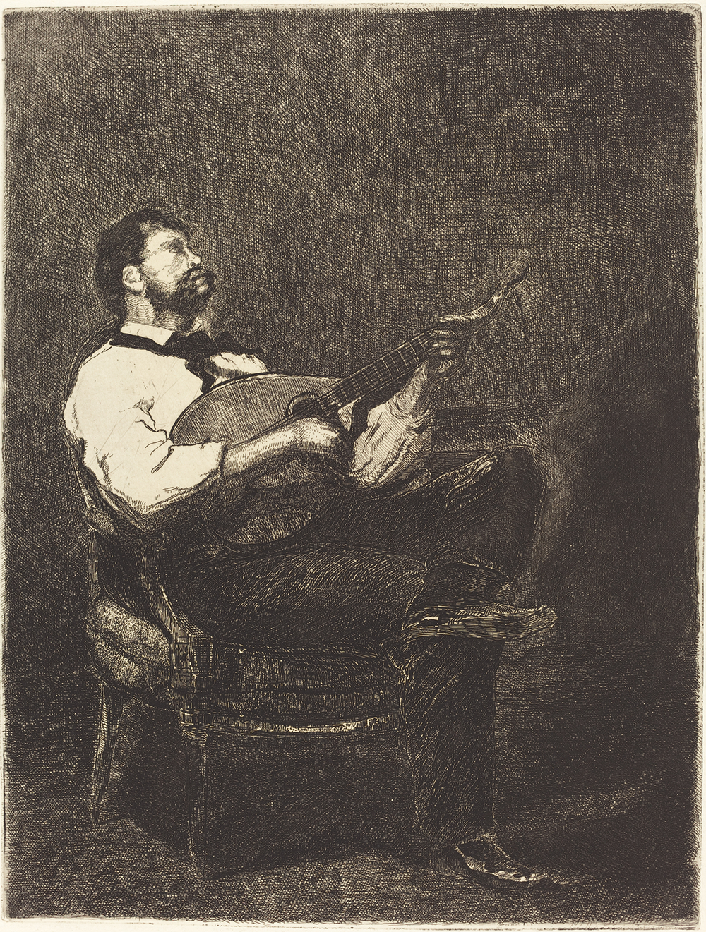 """""""Guitar Player (Joueur de Guitare),"""" by François Bonvin, 1861. National Gallery of Art, Ailsa Mellon Bruce Fund."""