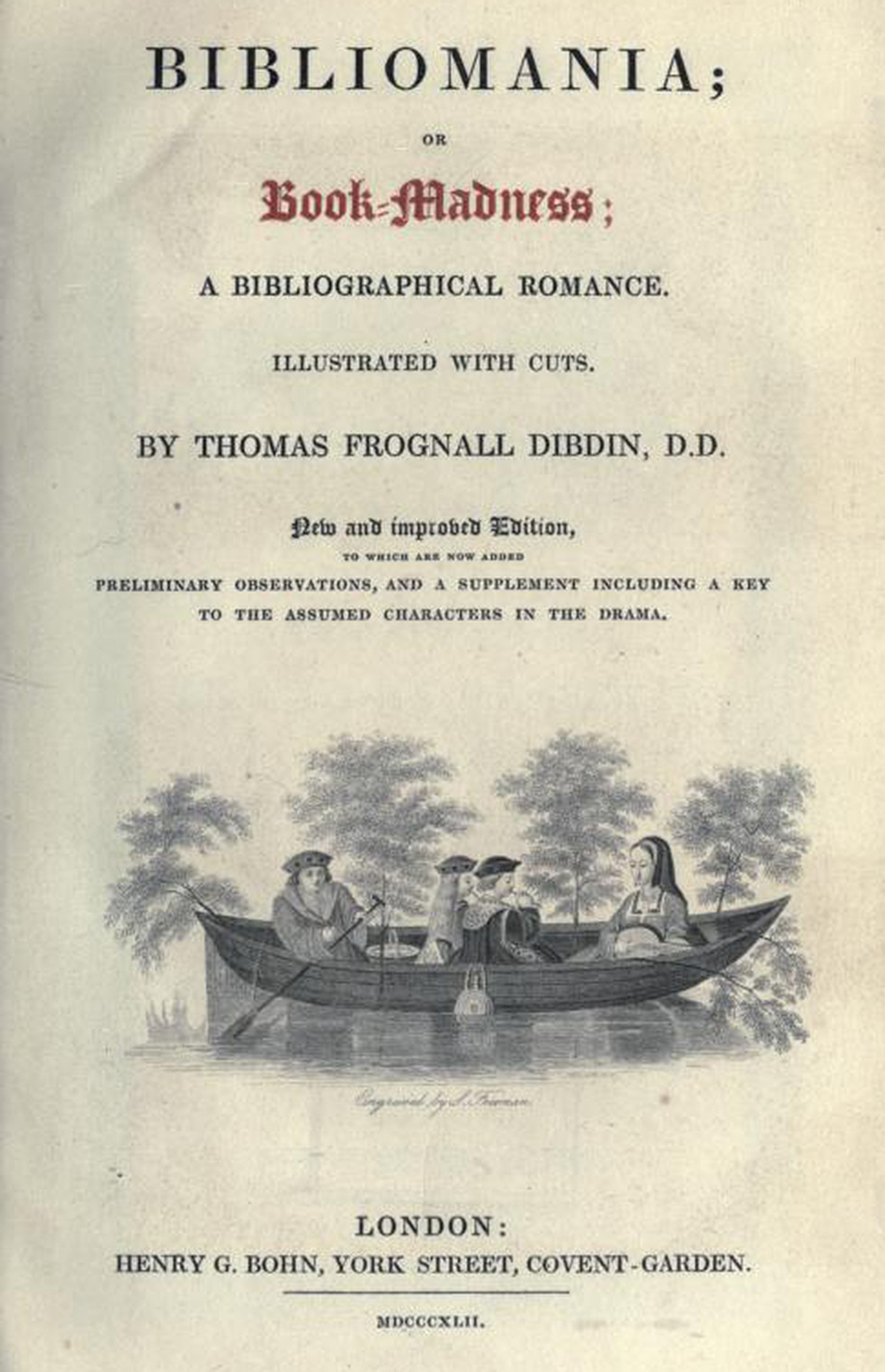 Title page from Bibliomania, or, Book-Madness: A Bibliographical Romance, 1842. Internet Archive, University of Toronto.
