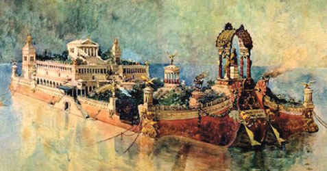 A drawing of a large opulent ship. On the ship there appears to be a palace or temple as well as trees and gardens.