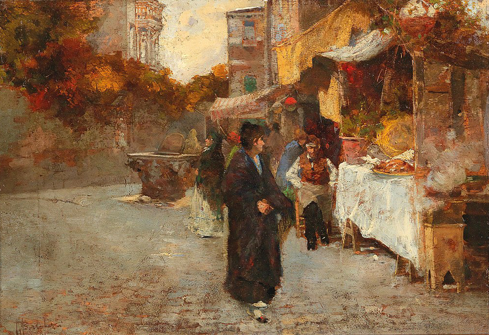 A painting of a street in Venice. A figure wearing a long coat looks back at the food vendors as they walk along.