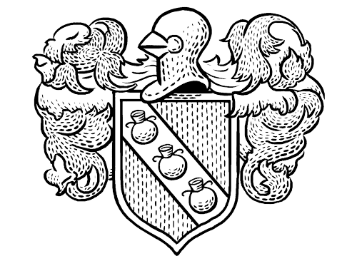 a black and white line drawing of a coat of arms