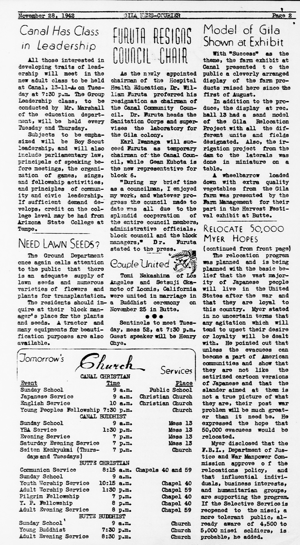 Gila News-Courier, an internment camp newspaper in Rivers, Arizona, November 28, 1942. Library of Congress, Prints and Photographs Division.