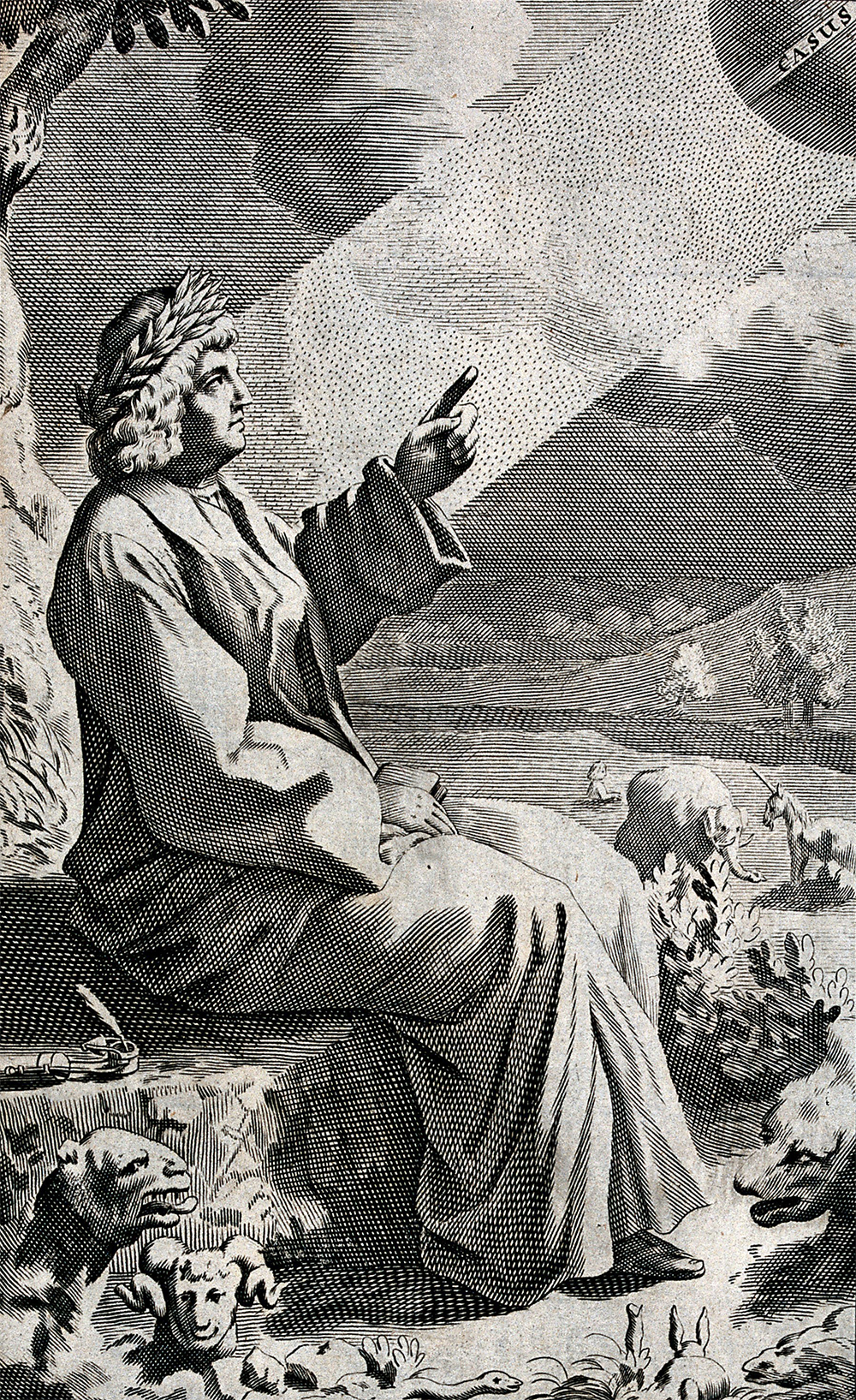 Lucretius pointing up at the revolving globe of Chance in the sky. Engraving by Michael Burghers, after Thomas Creech, c. 1682. Wellcome Collection (CC BY 4.0).