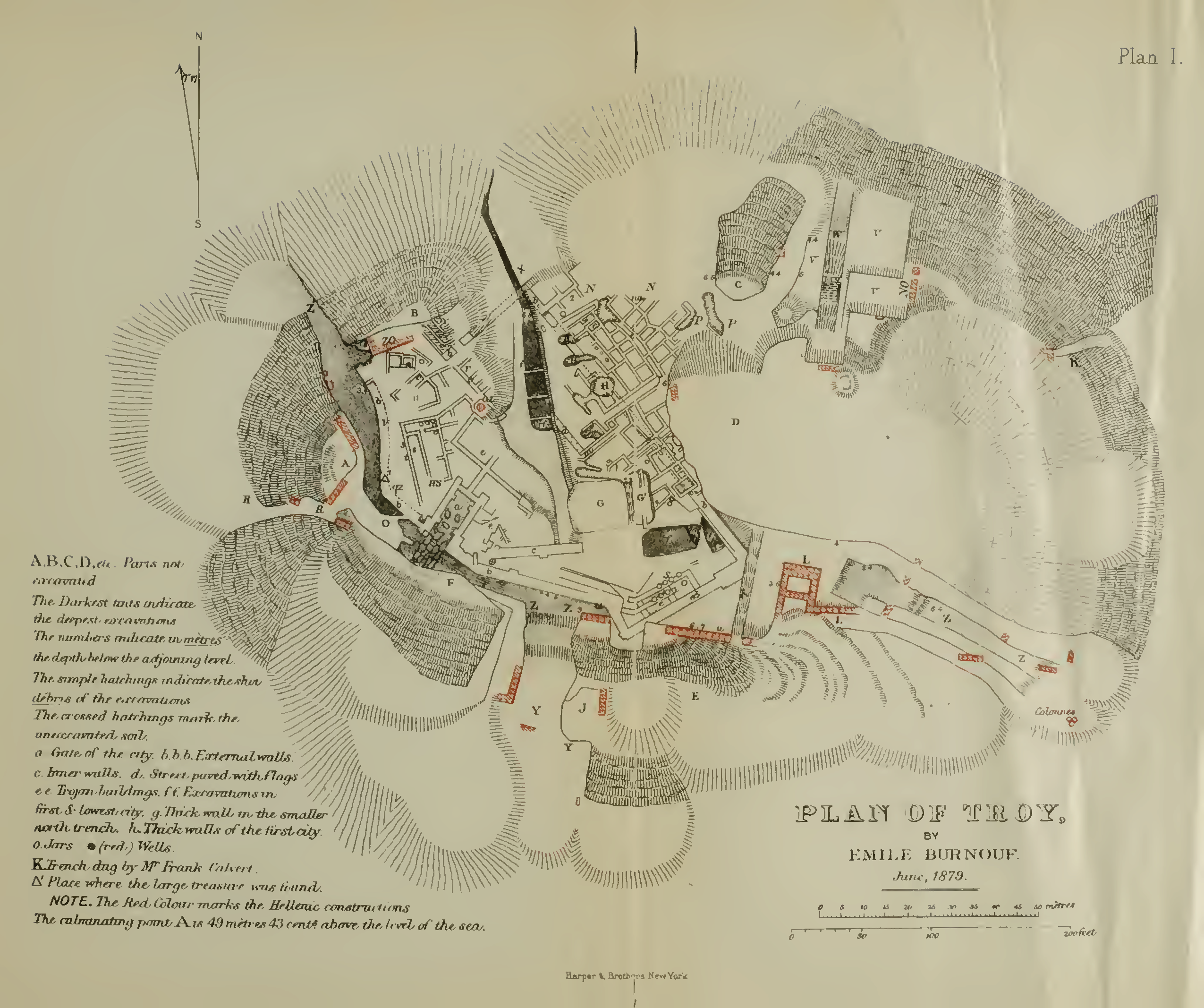 """Plan of Troy, by Emile Burnouf, from """"Ilios: The City and the Country of the Trojans"""" by Heinnrich Schliemann, 1880."""