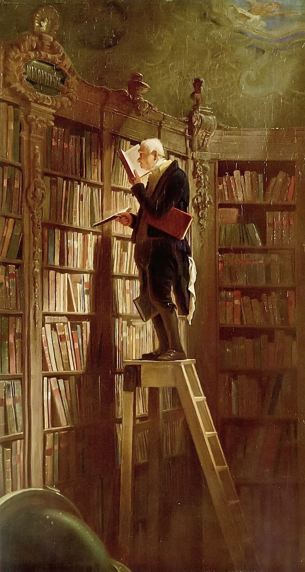 A painting of a man standing on top of a ladder in a room covered in built-in bookshelves. He is holding a book open and appears to be reading intently.