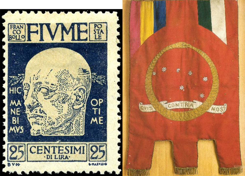 A stamp (depicting D'Annunzio) and flag (designed by D'Annunzio) of the Italian Regency of Carnaro.