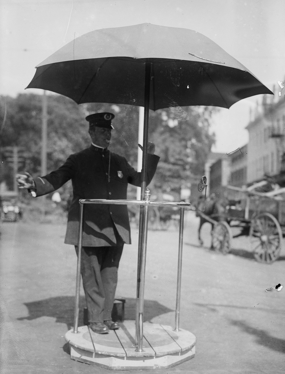 Traffic cop, Newport, Rhode Island, c. 1915. Photograph by Bain News Service. Library of Congress, Prints and Photographs Division.