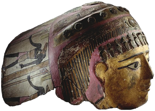 A mummy mask made of painted cartonnage. The mask shows a painted face wearing a decorated headdress.