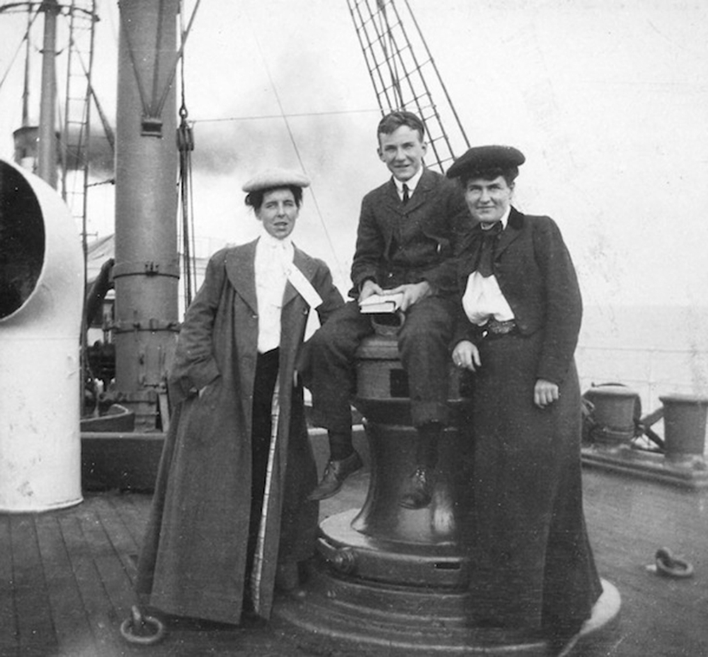 Isabelle McClung, an unidentified man, and Willa Cather aboard the SS Westernland, 1902. Philip L. and Helen Cather Southwick Collection, Archives and Special Collections, University of Nebraska–Lincoln Libraries.