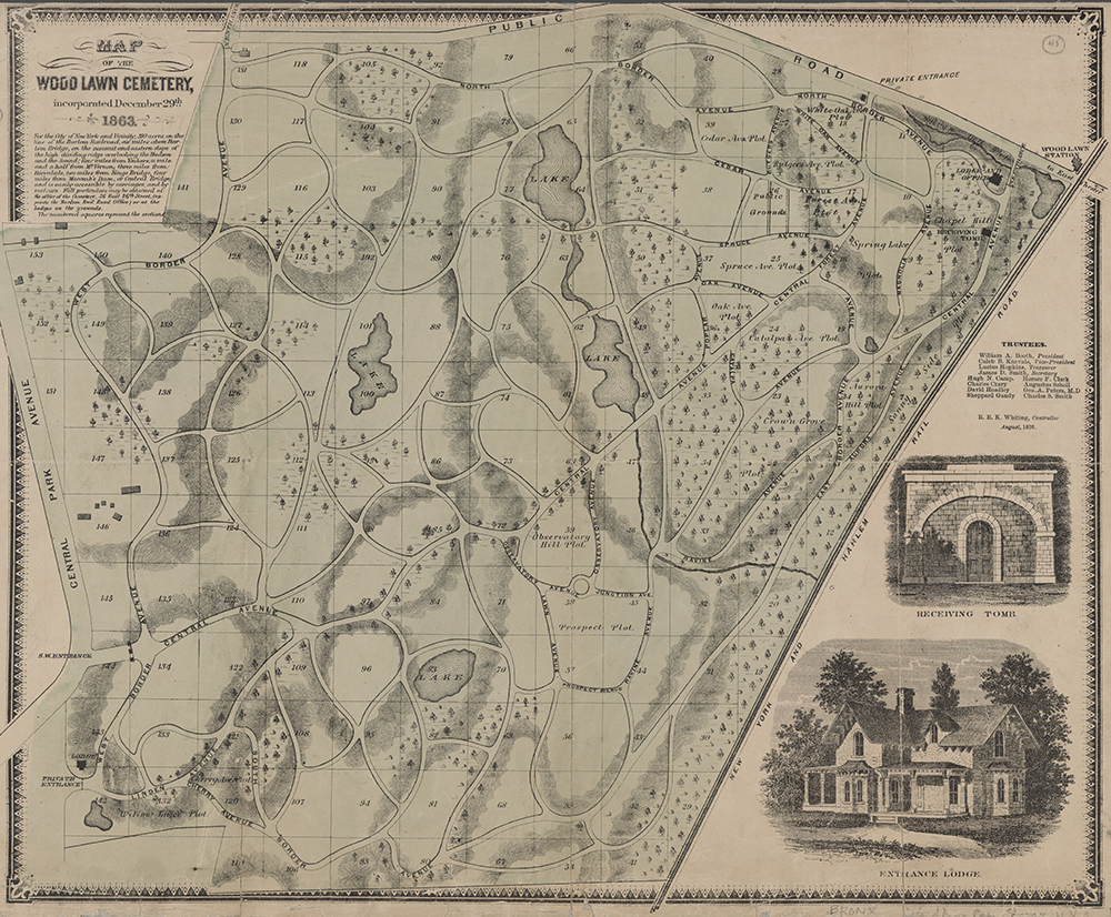 Map of Woodlawn Cemetery, 1870. The New York Public Library, Lionel Pincus and Princess Firyal Map Division.
