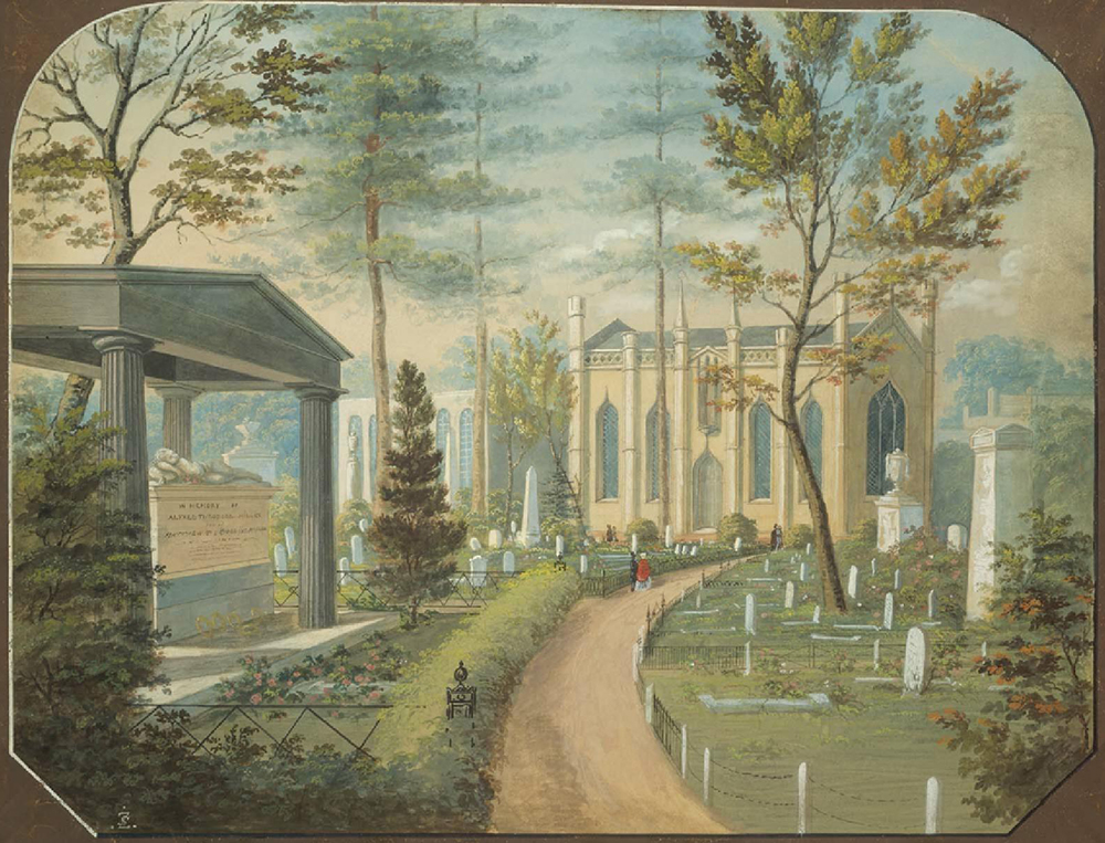 Laurel Hill Cemetery, Philadelphia, by Antonio Zeno Shindler, c. 1850. Museum of Fine Arts, Boston, Gift of Maxim Karolik for the M. and M. Karolik Collection of American Watercolors and Drawings, 1800–1875.