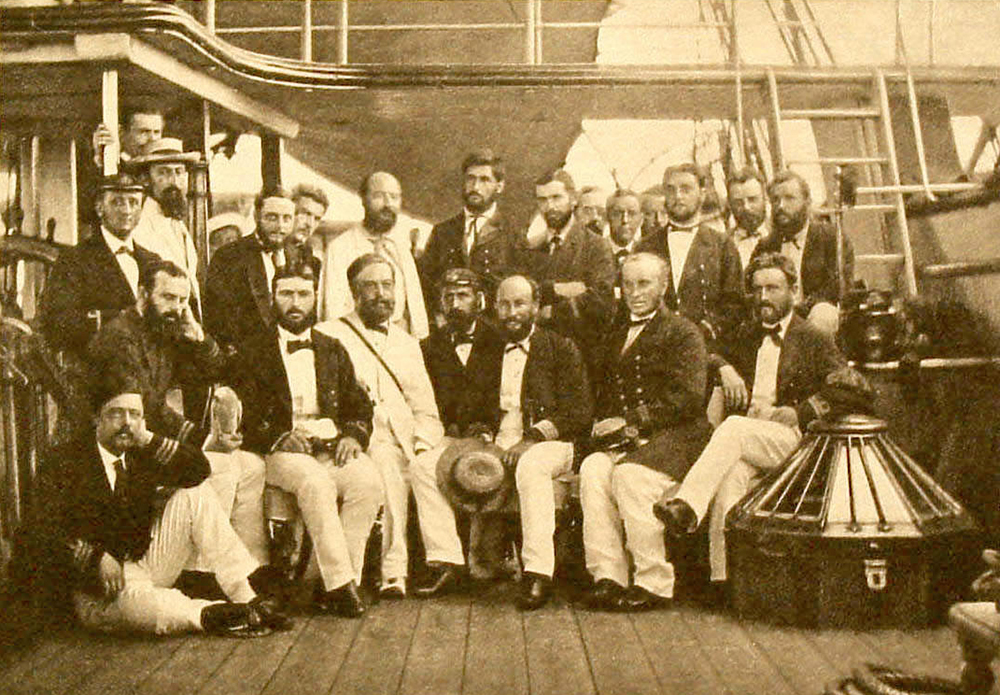 Photograph of the crew of the Challenger expedition, 1874. Wikimedia Commons.