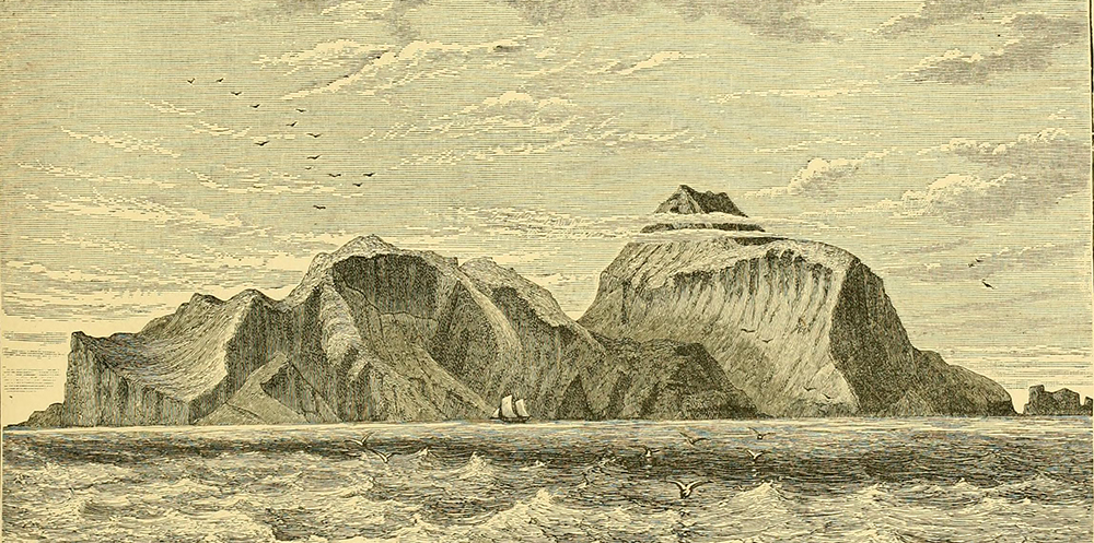 Illustration of a mountainous island from page 680 of Report on the Scientific Results of the Voyage of H.M.S. Challenger During the Years 1873–76, 1881. Flickr, Internet Archive.