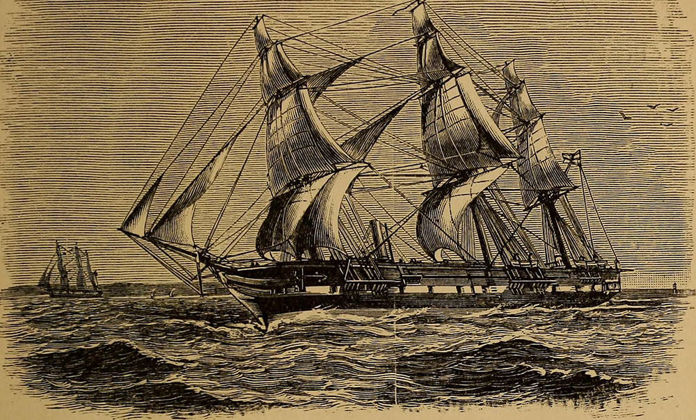 Illustration of a ship on the ocean from page 10 of Science of the Sea: An Elementary Handbook of Practical Oceanography for Travelers, Sailors, and Yachtsmen, 1912. Flickr, Internet Archive.