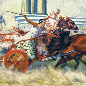 A painting of a chariot race