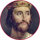 A painting of Charles the Bald wearing a crown. He does not look bald.