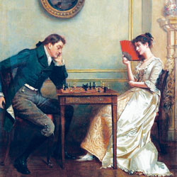 A painting depicting a man and woman playing chess.