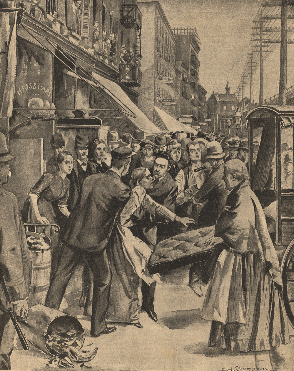 The Cholera Invasion, from Frank Leslie's Illustrated Weekly, by West B. Clinedinst, 1892. National Library of Medicine.