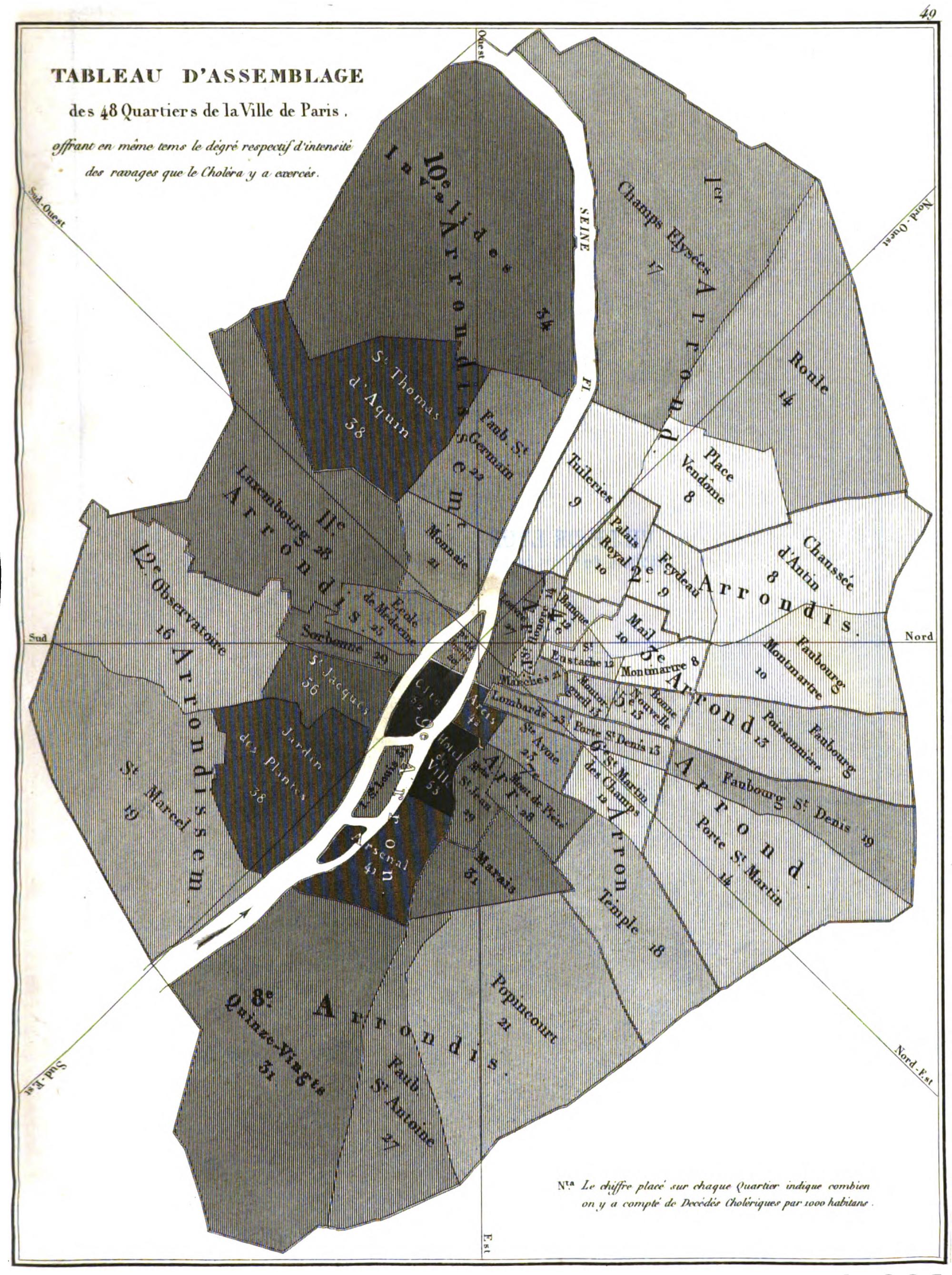 Map of Paris neighborhoods showing the number of cholera deaths per one thousand inhabitants. From <em>Rapport sur la marche et les effets du choléra-morbus dans Paris et les communes rurales du département de la Seine: Année 1832</em>, 1834.