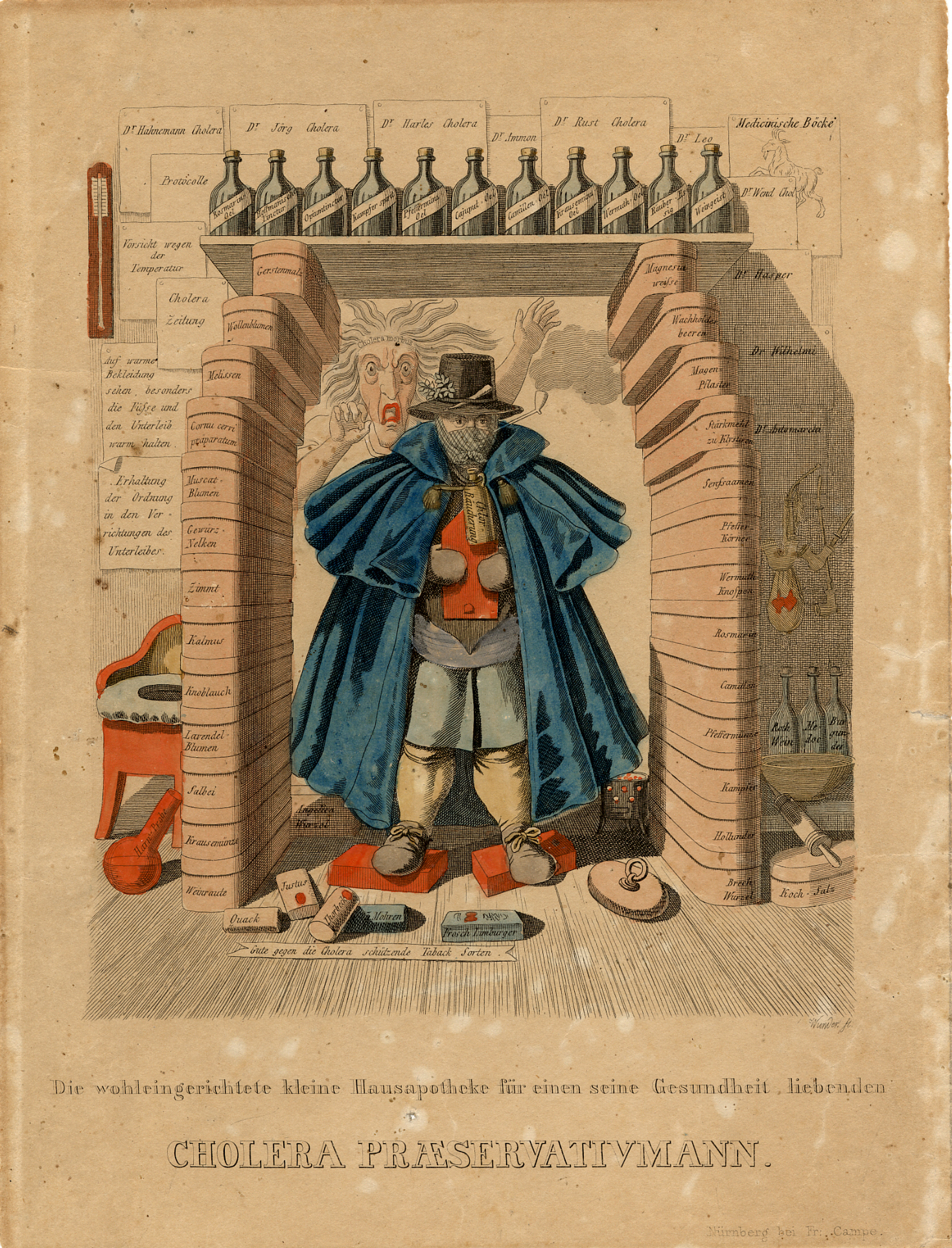 A colored etching depicting a man attempting to protect himself from Cholera. He is wearing a mask and a large overcoat, and holding a clay pipe. He is surrounded by boxes of herbs. Behind him a ghostly image represents Cholera.