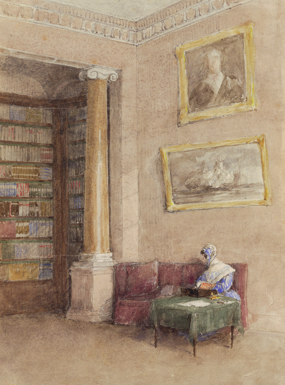 Illustration of a library, nineteenth century.