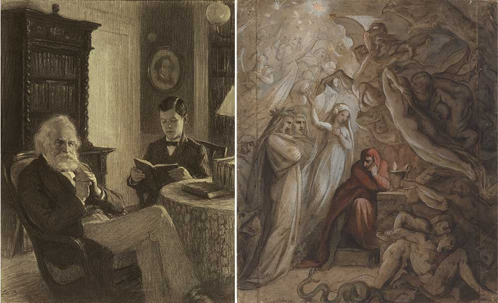 Left: Longfellow in His Study, by Worth Brehm. Right: Dante Meditating on The Divine Comedy, by Jean-Jacques Feuchère, 1843.