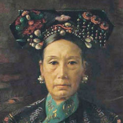 A painting of Cixi, empress dowager of China, wearing an elaborate headdress.