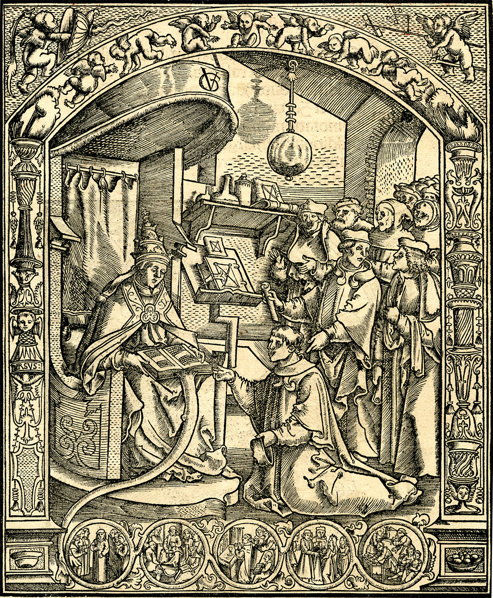 "Pope Clement V receiving a deputation of lawyers and monks, from ""Clementis Quinti Constitutiones,"" 1511. © The Trustees of the British Museum."