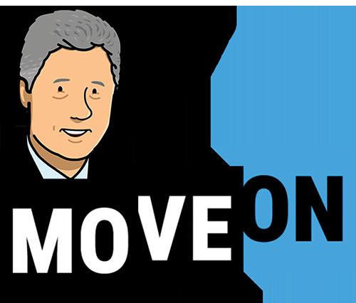 Bill Clinton and the MoveOn logo