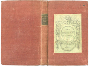 A book with a plain red cloth binding. A leather label on the spine and a paper label on the front give the title of the book.