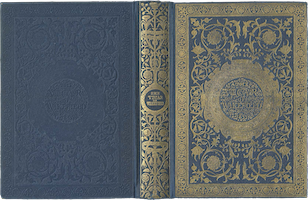 A blue clothbound book with gold tooling