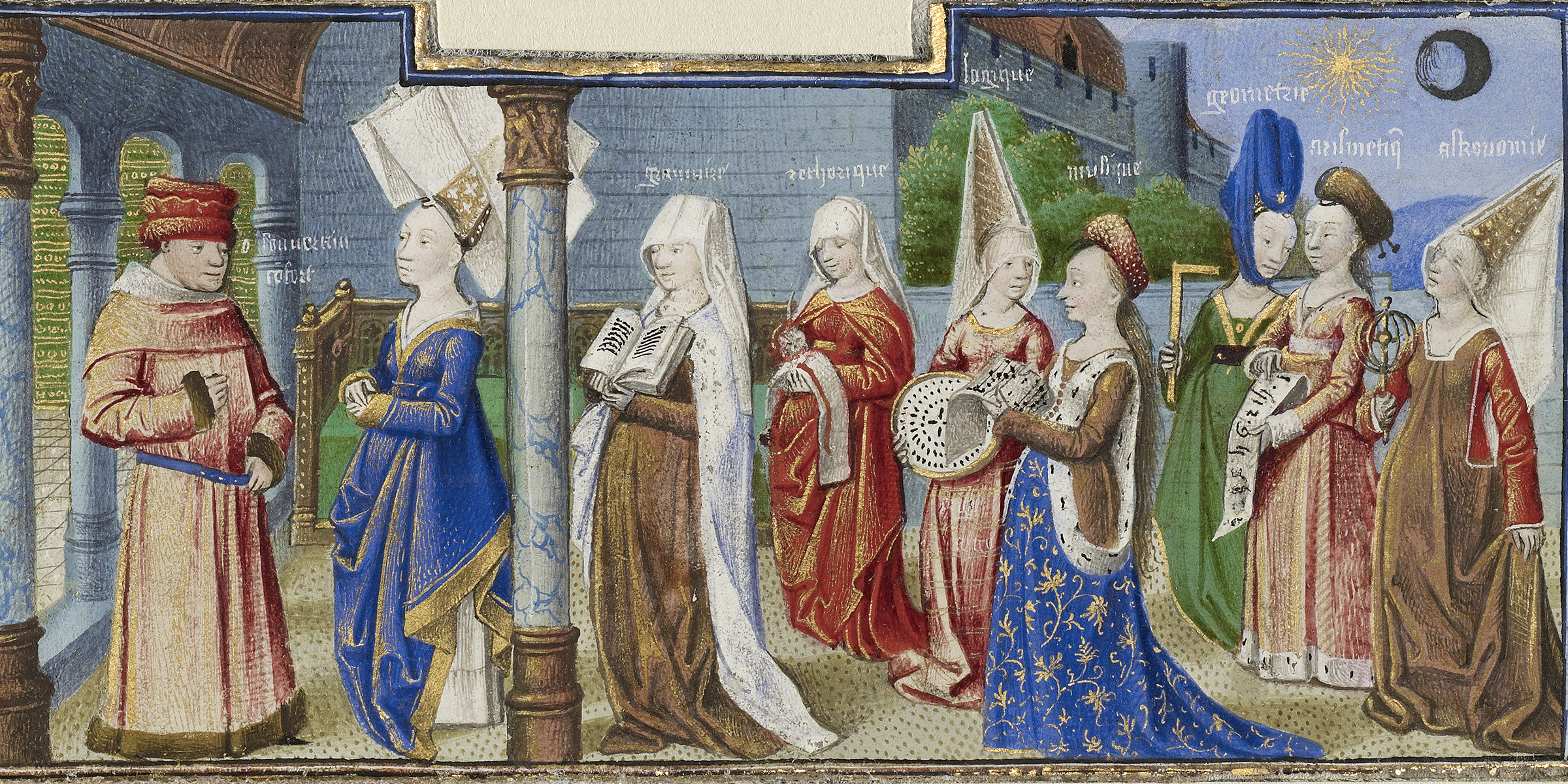 Philosophy Presenting the Seven Liberal Arts to Boethius, by Coëtivy Master, c. 1460–70. Digital image courtesy of the Getty's Open Content Program.