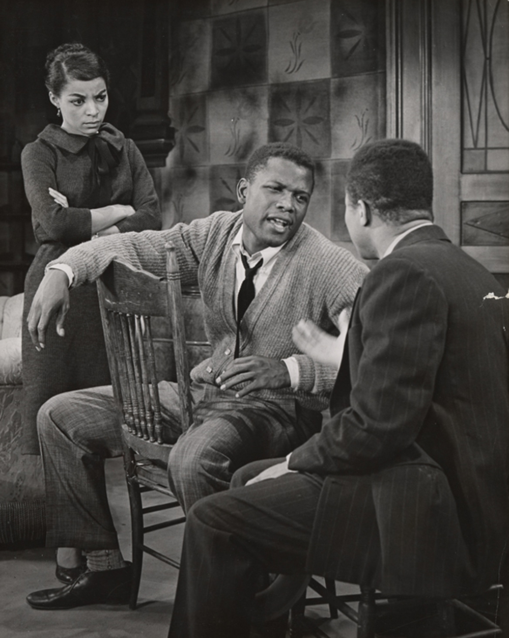 Ruby Dee, Sidney Poitier, and unidentified actor in the stage production of A Raisin in the Sun, 1959. The New York Public Library, Friedman-Abeles photograph collection.